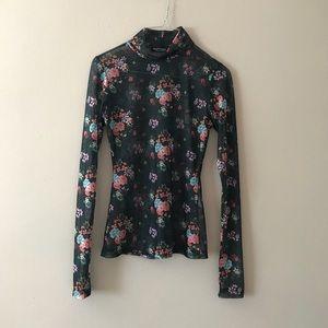 Black floral mesh long sleeve